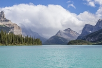 Emerald-colored water of Maligne Lake in Jasper National Park Alberta Canada
