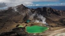 Emerald Lakes in Tongariro National Park New Zealand -