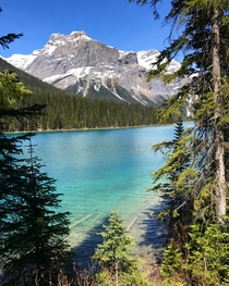 Emerald Peak presiding over Emerald Lake in Yoho National Park
