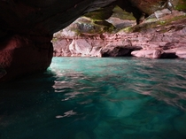 Emerald water in a Lake Superior Sea Cave Sand Island Apostle Islands National Lakeshore Wisconsin  x-post to rearthporn