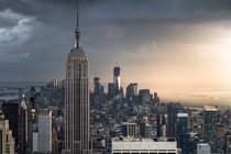 Empire State Building and One World Trade Center From the Observatory of Rockefeller Center