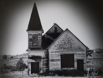 Empty church on an Oregon Indian reservation- excuse the poor resolution its a scan of a print of a bampw film photo