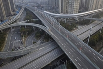 Empty interchange due to corona lockdown in Wuhan on February