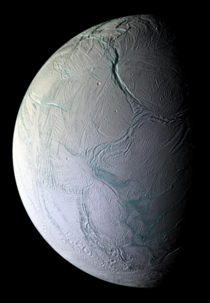 Enceladus moon of Saturn This picture is composition of  photos taken by Cassini in