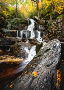 Enchanting waterfall on a crisp autumn morning in the Smoky Mountains