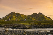 Encountered this green mountain on our hike to Emstrur Iceland Wish I could have stayed longer to get deeper sunset colors but we had to move on