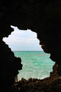 End of a cave with an ocean view Okinawa