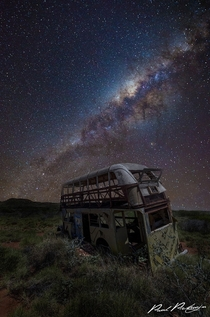 End of the line for this bus under the Milky Way in the Pilbara Region Western Australia  by Paul Pichugin