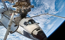 Endeavour docked at the ISS
