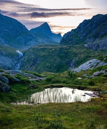 Endless lakes and waterfalls in Lofoten Norway