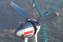 Enercon E-  megawatt wind turbine in its final stages of assembly
