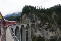 Engadin Valley Train bridge in the Swiss Alps
