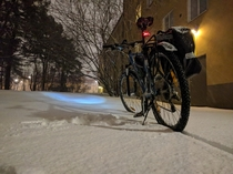 Enjoyed a wonderful bike commute from work in fresh snow in Stockholm