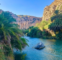 Enjoying a wonderful day at Preveli Dimon Foinika kai Lampis Crete Greece