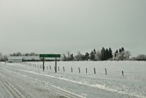 Entering the village of Grande-Clairire Manitoba Canada