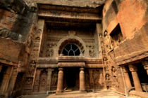 Entrance faade of Cave  at rock-cut Ajanta Caves in INDIA is a worship hall chaitya griha datable to the th century CE