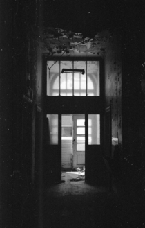 Entrance of abandoned s factory offices Shot with black and white film Love these places