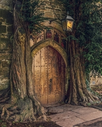 Entrance of the th century St Edwards Church flanked by yew trees Stow-on-the-Wold Gloucestershire South West England