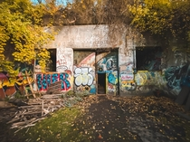 Entrance to abandoned military battery on Peaks Island in Maine