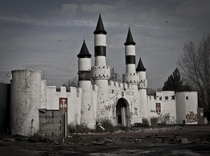 Entrance to abandoned theme park Camelot in Chorley England