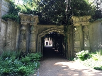 Entrance to the Egyptian style catacombs in Highgate Cemetery London Uk