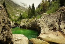 Entrance to the Great gorge of river Soa Triglav NP Julian Alps x