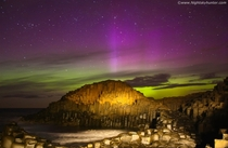 Epic aurora display over the Giants Causeway Northern Ireland