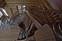 Epic Spiral Staircase Inside an Abandoned Country Log Mansion
