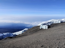 Equatorial glaciers seen from Mt Kilimanjaros crater rim Tanzania