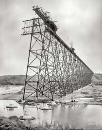 Erecting Lethbridge Viaduct over the Oldman River Alberta Canada