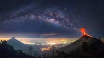 Erupting Volcano in Front of the Milky Way - Antigua Guatemala Guatemala