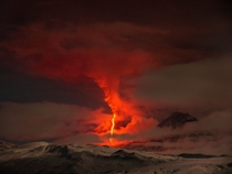 Erupting volcano that looks like a scene from Mount Doom in Mordor from LotR Klyuchevskoy Russia Photo by Marc Szeglat