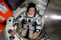 ESA astronaut Samantha Cristoforetti checks her Sokol pressure suit in preparation for the Expedition  crews departure from the International Space Station after   months in space