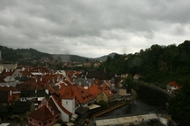 esk Krumlov on a rainy day Czech Republic