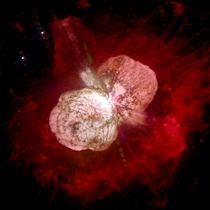Eta Carinae a large complex area of bright and dark nebulosity in the constellation Carina surrounded by the Homunculus Nebula  More info in comments