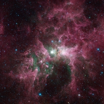 Eta Carinae is one of the most massive stars in the galaxy Its glare is sculpting and destroying the surrounding nebula It is around  times the mass of our sun and is burning its nuclear fuel so quickly that it is at least one million times brighter than
