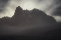 Ethereal A mist-filled morning as the sun rose behind the mountain Cordillera Huayhuash Peru