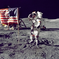Eugene A Cernan Commander Apollo  salutes the flag on the lunar surface during extravehicular activity EVA on NASAs final lunar landing mission -- December