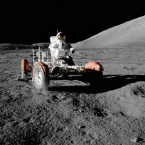 Eugene Cernan riding the Lunar Rover during the Apollo  mission  xpost rTechnologyPorn
