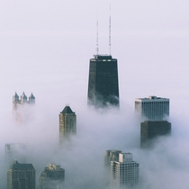 Evening fog in Chicago IL