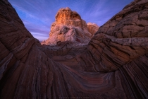 Evening glow on incredible sandstone formations in the Vermilion Cliffs Wilderness AZ