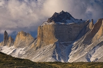 Evening Light in Torres del Paine left to right are Cerro Espada Cerro Hoja and Cuernos Norte