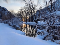 Evening walk in Provo Canyon after snowstorm Provo Utah USA