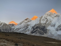 Everest Nuptse and Changtse at sunset catching the final rays of sun last November