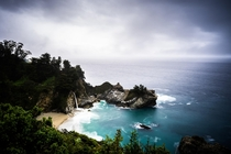 Every time I go up the CA coast it seems to rain heres a rainy day at McWay Falls Big Sur