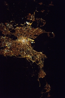 Expedition  Commander Shane Kimbrough of NASA shared this nighttime image of Dublin on March