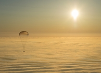 Expedition  with ISS members Barry Wilmore of the US Alexander Samokutyaev and Elena Serova of Russia returning to Earth