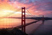 Explosive sunrise overlooking the Golden Gate Bridge and the city of San Francisco