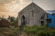 Exterior of abandoned aboriginal church in rural Pingtung County Taiwan