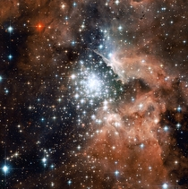 Extreme star cluster bursts into life in the star-forming region NGC